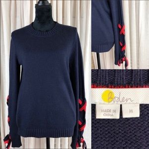 Boden navy blue crew neck sweater with red laces